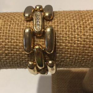Chunky gold tone with rhinestones  bracelet